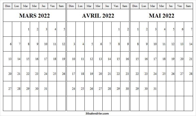 Calendrier Mars à Mai 2022 à Imprimer