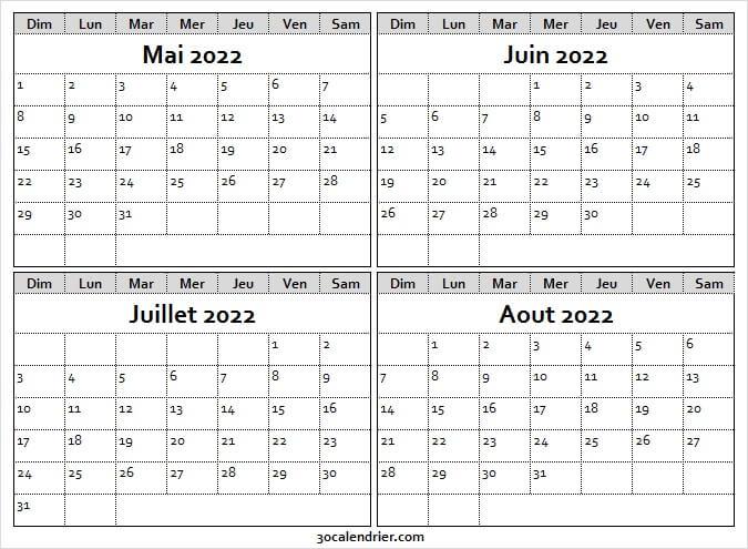 Calendrier Mai à Aout 2022