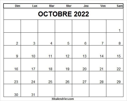 Calendrier Octobre 2022 Imprimer